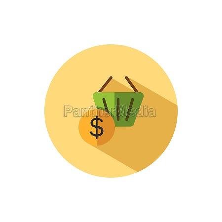 shopping basket dollar symbol flat icon