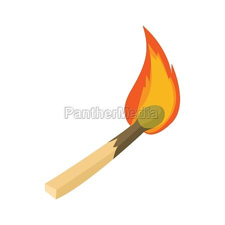 burning match icon cartoon style