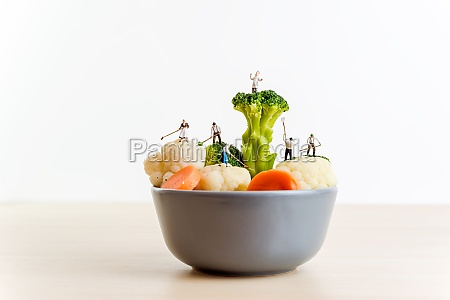 miniature farmers and a giant bowl