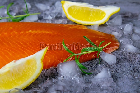 fresh raw salmon fish steak with