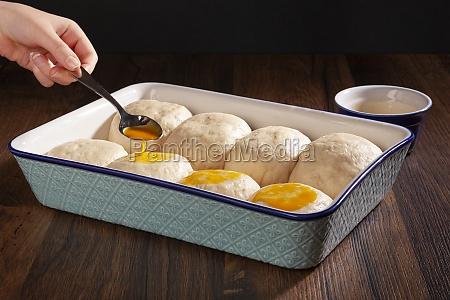 fresh buns with yolk in a