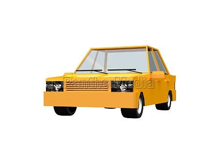 low polyyellow car sedan taxiisolated on