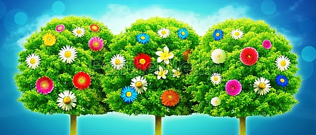 flowers and tree spring creative floral