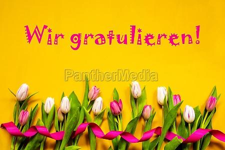 tulip wir gratulieren means congratulations ribbon