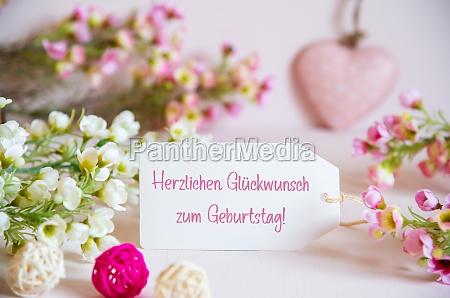 rose spring flowers label glueckwunsch zum