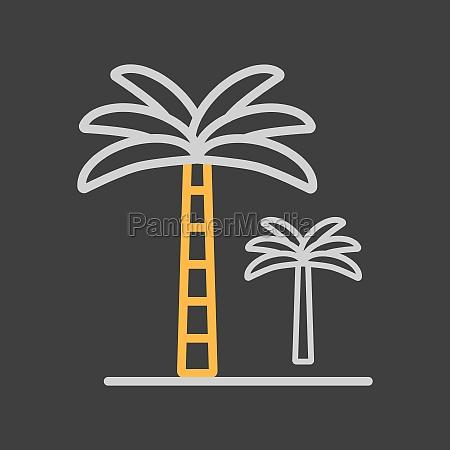 palm tree vector icon on dark