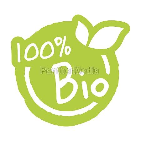 modern green stamp 100 bio