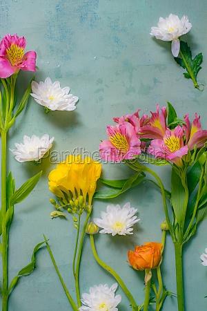 floral arrangement top view on grunge