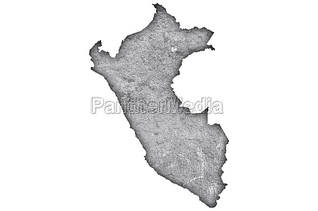 map of peru on weathered concrete