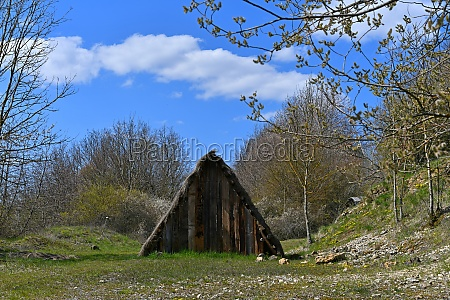 old huts in the forest
