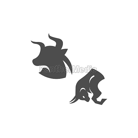 bull icon logo buffalo head icon