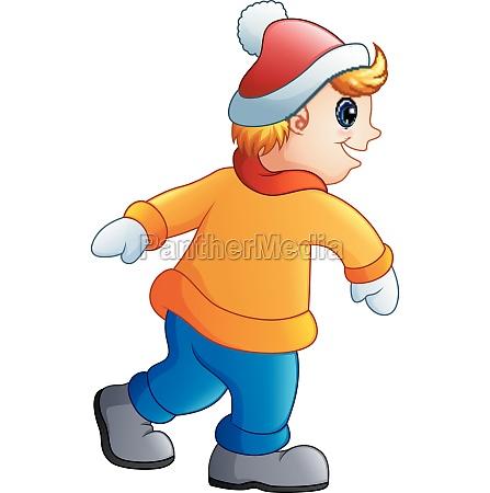 funny boy cartoon in winter clothes