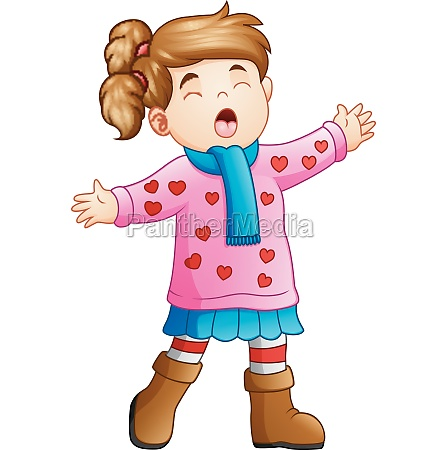 cartoon funny girl in winter clothes