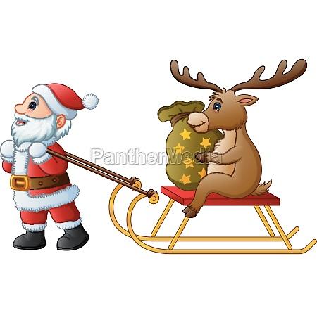 cartoon funny santa claus pulling a