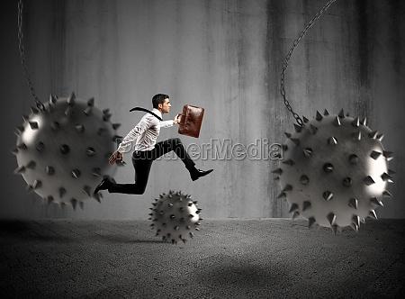 businessman determined but hampered