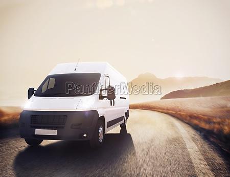 transport truck 3d rendering