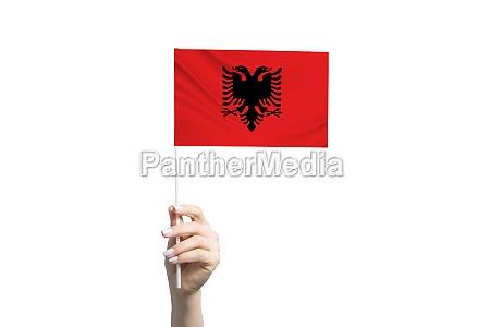 beautiful female hand holding albania flag