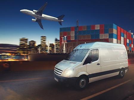fast van on road delivering at