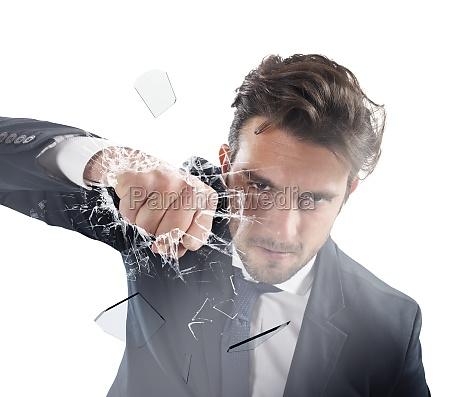 fist of determinated businessman