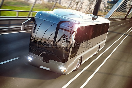 realistic image of grey bus on