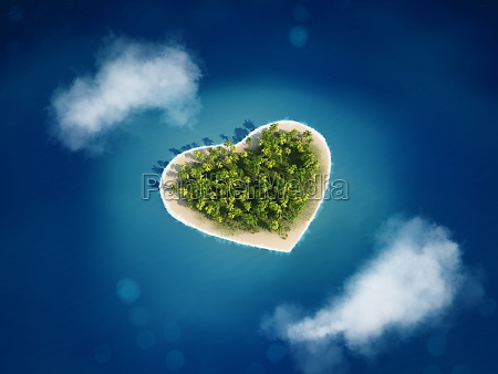 3d rendering heart island