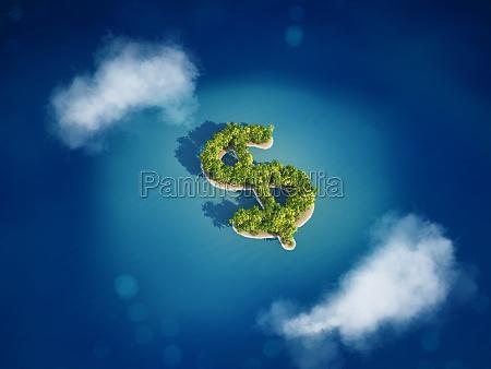 3d rendering of money island