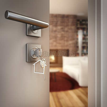 3d rendering open home door
