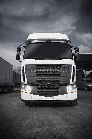 white articulated truck 3d rendering