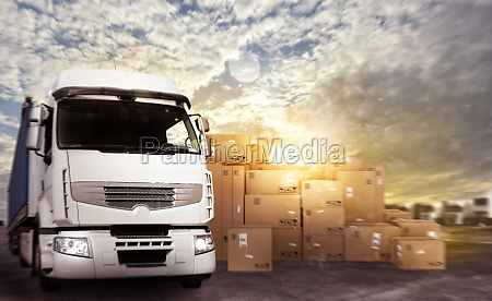 truck in a deposit with packages
