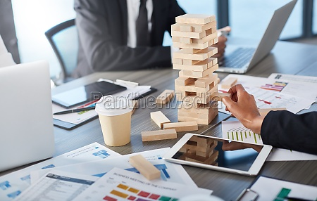 team of business people build a