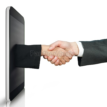 handshake between two people through a
