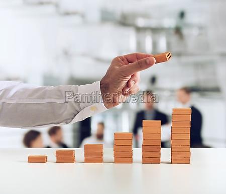 businessman puts a brick on a