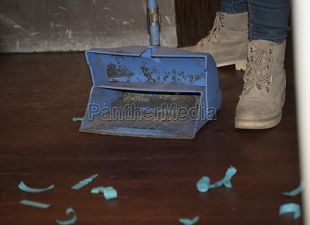 floor cleaning with a broom