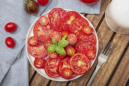 top view of tomato salad and