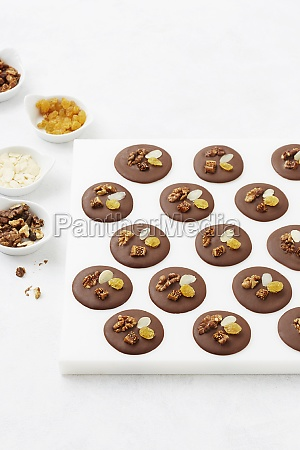 chocolate mendiants with almonds and ginger