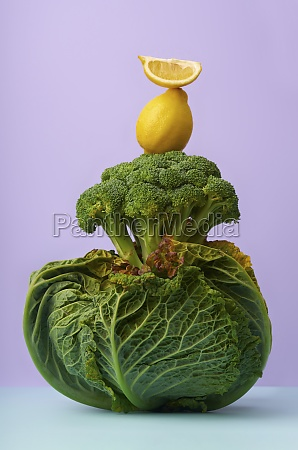 still life with savoy cabbage broccoli