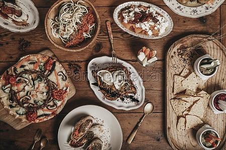 arrangement of assorted mexican food