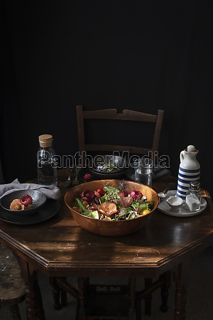 salad with fresh vegetables and green