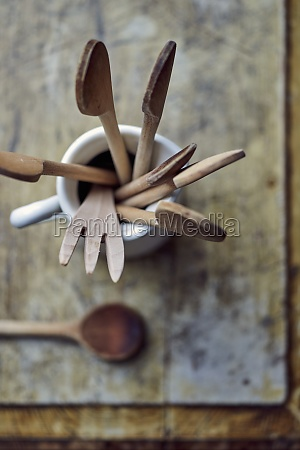 wooden spoons and utensils in a