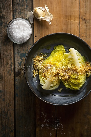 pointed cabbage wedges with garlic breadcrumbs