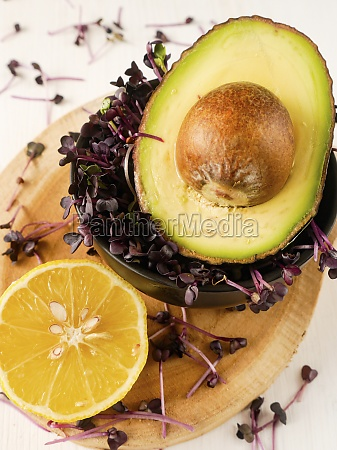 half an avocado red cress and