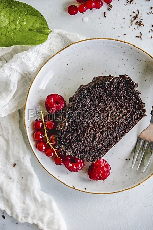 chocolate cake with fresh currants and