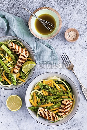 zoodle salad with green asparagus and