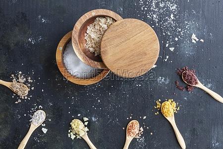 various types of salt in wooden