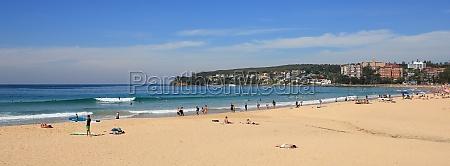 sandy manly beach sydney popular surf