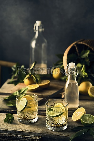 water with lemon and lime slices