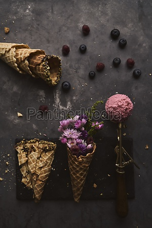pink ice cream scoop and waffle