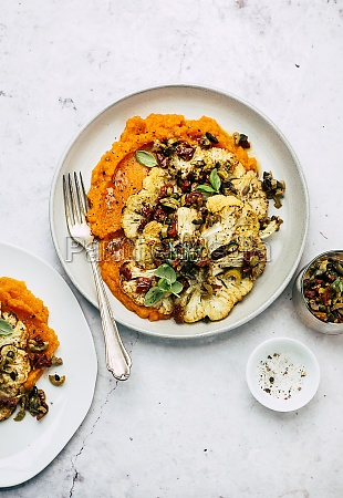 cauliflower steak with sweet potato puree