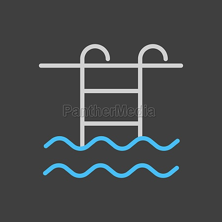 swimming pool flat vector icon on