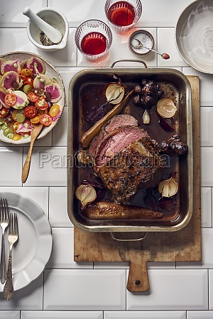 entrecote roast served with salad with